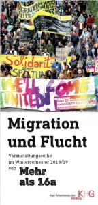 Titelseite Flyer Migration und Flucht von Mehr als 16a